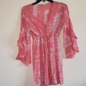Tiara Hawaii Ruffle Sleeve Dress in Pink Tie Dye